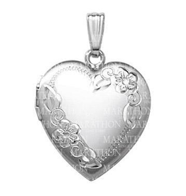 Silver Rhodium Plated Hand Engraved Floral Heart Locket