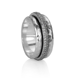 MeditationRings Meditation Ring Reflections Sterling Silver with cubic zirconium