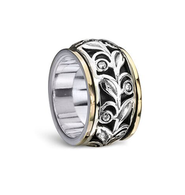 MeditationRings Meditation Ring Forever Sterling Silver and 10K Yellow Gold Plated CZ Leaf Design Spinning Band