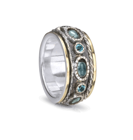 MeditationRings Meditation Ring Sky 10KT Yellow Gold & Sterling Silver with Blue Topaz Gemstones
