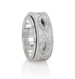 MeditationRings Meditation Ring Embrace Sterling Silver with Cubic Zirconium's