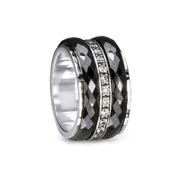 MeditationRings Meditation Rings Untold Sterling Silver with Black Ceramic and CZ