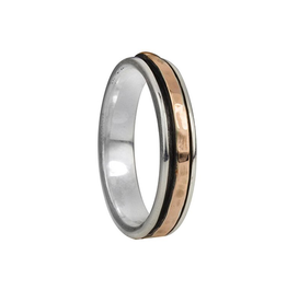 Meditation Ring Dharma Sterling Silver and 9 KT Rose Gold Plated Spinning Band