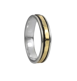 Meditation Ring Sati Sterling Silver and 9K Gold Plated Spinning Band