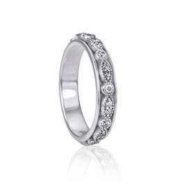 MeditationRings Meditation Ring Devotion Sterling Silver with CZ