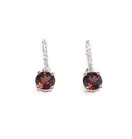 Garnet and CZ Sterling SIlver Earrings