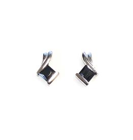 Black CZ Sterling Silver Earrings