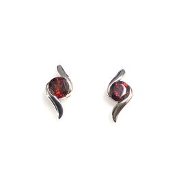 Garnet Sterling SIlver Stud Earrings