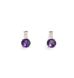 Amethyst and CZ Sterling Silver Earrings