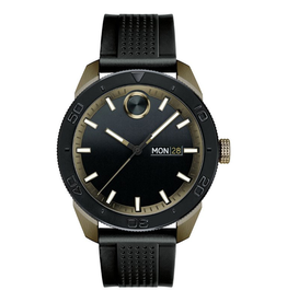 Movado Bold Watch with Khaki Ion Plating and Black Silicon Strap