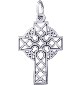 Nuco Silver Rhodium Plated Celtic Cross Charm Pendant