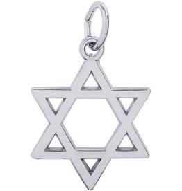 Silver Rhodium Plated Star of David Charm Pendant