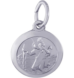Silver Rhodium Plated St. Christopher Charm Pendant (Small)