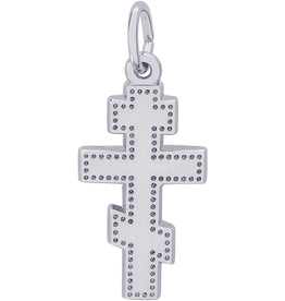 Nuco Silver Rhodium Plated Orthodox Cross Charm Pendant