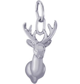Nuco Silver Rhodium Plated Deer Head Charm Pendant