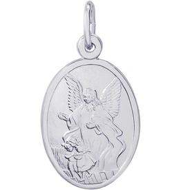 Nuco Silver Rhodium Plated Guardian Angel Charm Pendant