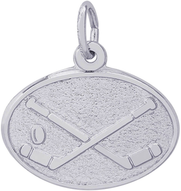Nuco Silver Hockey Sticks with Puck Charm Pendant