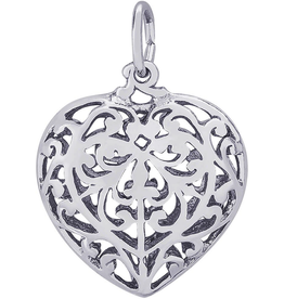 Nuco Silver Heart Filigree Heart Charm Pendant