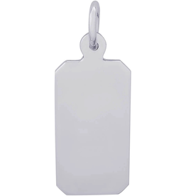 Nuco Silver Rhodium Plated Plain Dog Tag Charm Pendant