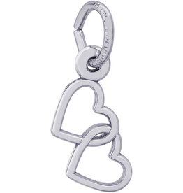 Nuco Silver Entwined Hearts Charm Pendant