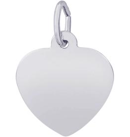 Nuco Silver Rhodium Plated Plain Heart Disc Charm Pendant