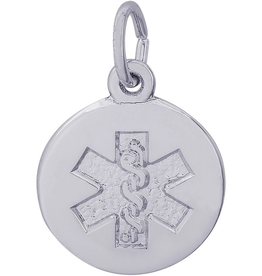Nuco Silver Rhodium Plated Medical Alert Charm Pendant