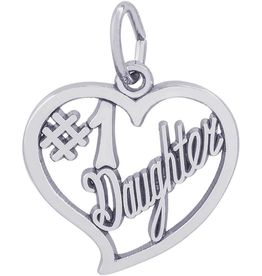 Nuco Silver #1 Heart Daughter Charm Pendant