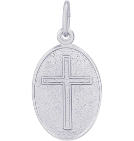 Silver Rhodium Plated Oval Disc Cross Charm Pendant