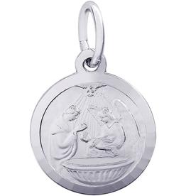Nuco Sterling Silver Baptism Disc Charm Pendant