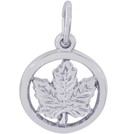 Nuco Silver Rhodium Plated Maple Leaf Circle Charm Pendant