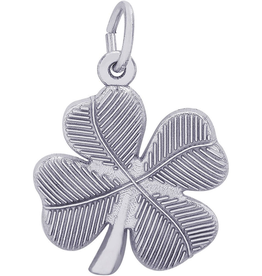 Nuco Silver Rhodium Plated Four Leaf Clover Charm Pendant