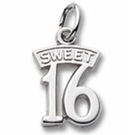 Nuco Silver Rhodium Plated Sweet 16 Charm Pendant