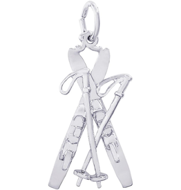 Nuco Silver Rhodium Plated Skis with Poles Charm Pendant