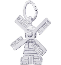 Nuco Silver Rhodium Plated Movable Windmill Charm Pendant