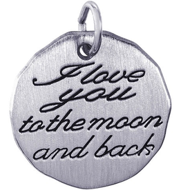 "Nuco Silver ""I Love You To The Moon And Back"" Charm Pendant"