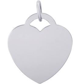 Nuco Silver Rhodium Plated Plain Heart Charm Pendant