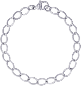 Nuco Sterling Silver Dapped Curb Link Charm Bracelet