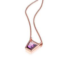 Elle Elle Paradox Sterling Silver Rose Tone Purple Red CZ Necklace