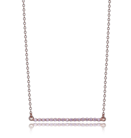 Elle Elle Pink CZ Bar Necklace Sterling SIlver Rose Gold Plated