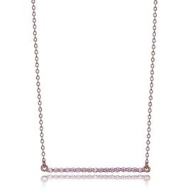 Elle Elle Rodeo Drive Sterling Silver Rose Tone CZ Bar Necklace