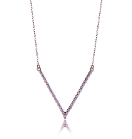 "Elle Elle ""V"" Shaped Sterling Silver Rose Gold Plated Pink CZ Necklace"