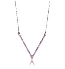 """Elle """"V"""" Shaped Sterling Silver Rose Gold Plated Pink CZ Necklace"""