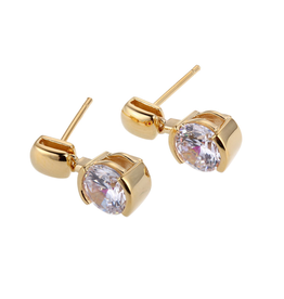 Elle Elle Sterling Silver Gold Plated Cubic Zirconia Post Earring