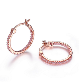 Elle Rodeo Drive  Inside Out Pink CZ Hoop Earrings