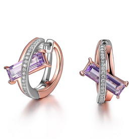 Elle Elle Sterling Silver Rhodium and Rose Gold Plated Genuine Purple Mystic Quartz and Cubic Zirconia