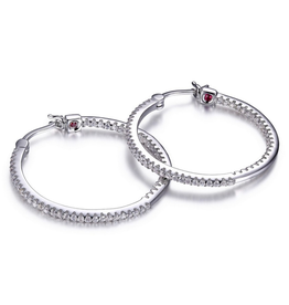 Elle Elle Rodeo Drive Sterling Silver Rhodium Plated Inside Out CZ Hoop Earrings