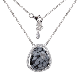 Elle Elle Genuine Snowflake Obsidian Halo Sterling Silver Necklace