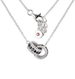 Elle Black Spinel Interlocked Ring Necklace Sterling Silver
