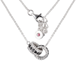 Elle Elle Fusion Sterling Silver Rhodium Plated Black Spinel Interlocked Ring Necklace
