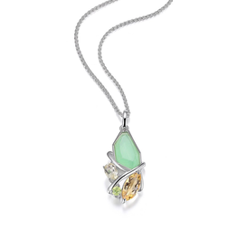 Elle Elle Sterling Silver Bouquet Gems Necklace